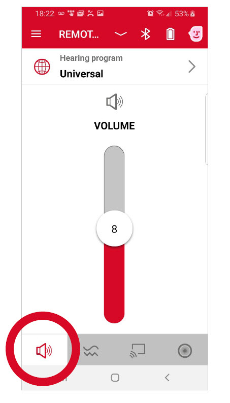 The Volume control will increase gain for the selected program.